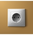 Realistic electric white socket on biege wall vector image