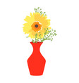 red vase with blooming flowers for decoration and vector image vector image