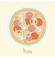 Regular pizza on a plate vector image vector image