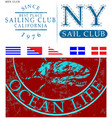 sailing club t shirt design vector image