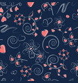 seamless pattern with pink hearts curls and vector image vector image
