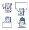 set of iphone character with expression board vector image vector image