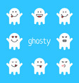 set of white emoji ghost on blue background vector image