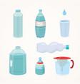set plastic bottle of pure water different bottle vector image vector image