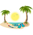 Summer holidays at sea Palm trees sun flippers vector image vector image