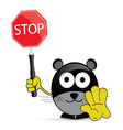 sweet and cute mouse with sign stop vector image