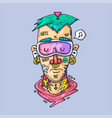 the face a rapper with tattoos creative vector image