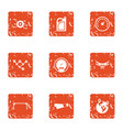 travel speed icons set grunge style vector image