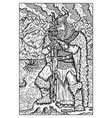 Viking or sea king engraved fantasy vector image
