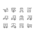 Wheel shops black line icons vector image vector image