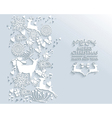 White Merry Christmas and Happy New Year winter vector image vector image