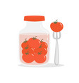 with jar of pickled tomatoes vector image