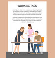 working task poster and team vector image