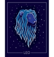 Zodiac sign Leo on night starry sky background vector image