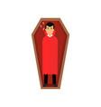 vampire character sleeping in wooden coffin count vector image