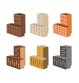 Set with bricks different color isolated on white vector image