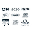 2020 happy new year banners set with abstract vector image