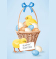 a basket with eggs vector image vector image