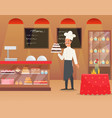 an interior of bakery with man vector image vector image