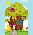 animals in a treehouse vector image