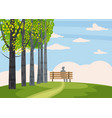 autumn landscape trees with yellow leaves lonely vector image vector image
