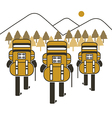 backpack group hiking mountain vector image vector image