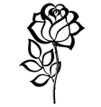 black silhouette outline rose isolated on white vector image