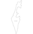Black White Israel Outline Map vector image vector image