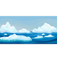 cartoon arctic iceberg with blue sea winter vector image