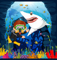 cartoon boy diving in the sea with shark vector image