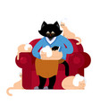 cat and grandmother in parallel universe big pet vector image vector image