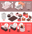 chocolate manufacture isometric banners vector image vector image