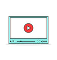 color linear video player interface vector image vector image
