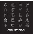 competition editable line icons set on vector image vector image