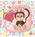 cute cartoon monkey with balloon vector image vector image