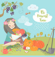 cute girl holding a basket full vegetables vector image