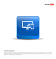 data transfer icon - 3d blue button vector image