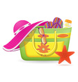female bag with beach accessories vector image vector image