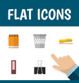 flat icon stationery set of trashcan supplies vector image vector image