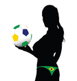 girl holding the ball with Brazilian colors vector image vector image