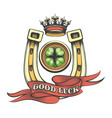 good luck gambling emblem vector image vector image