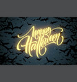 halloween glowing night background with bats vector image vector image