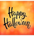 Halloween greeting card with black brush lettering vector image