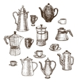 hand-drawn coffee utensils set vector image vector image
