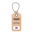hang tag made in south korea with flag icon vector image