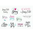 Hello spring Happy Easter lettering typography set vector image