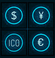 ico and dollar euro and yen currency set vector image vector image
