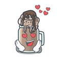 In love milkshake mascot cartoon style