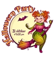 Invitation to Halloween party with fun witch on a vector image vector image
