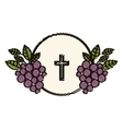 Isolated religion cross and grapes design